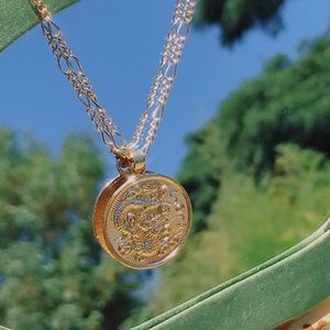 Golden Dragon coin necklace